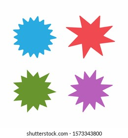 Set of color isolated starbursts. Vector illustration.