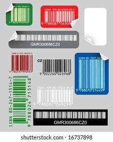 Set of color labels with bar codes