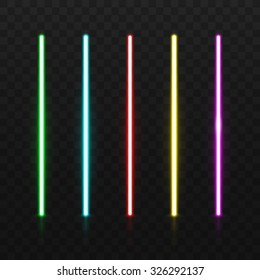 Set of color laser beams. Isolated in black background. Vector illustration, eps 10.