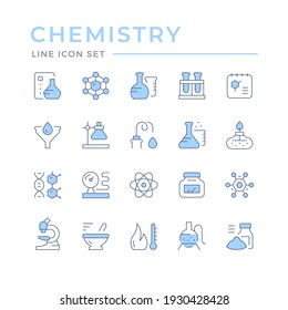 Set color line icons of chemistry