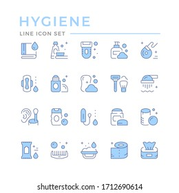 Set color line icons of hygiene