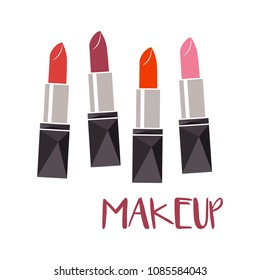 Set of color lipsticks. Red, pink, orange, wine. Flat multicolored lipsticks vector. Makeup.