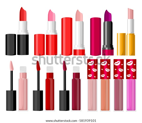Set of color lipsticks. Vector fashion sketch makeup contrasty glamour in vogue style. Isolated elements on white background lips