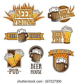Set of color logos, icons, signs, badges, labels and beer. Template design for a bar, pub, beer festival. Beer mugs and wheat. Vector
