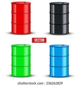 Set of color metal oil barrels. Vector illustration on white background