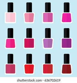 Set of color nail polish bottles in flat style
