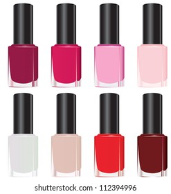 Set of color nail polish. Vector EPS8