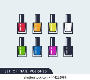 Set of color nail polish. Vector icons
