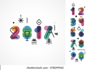 set of color numbers with New Year's icons for creation of an in