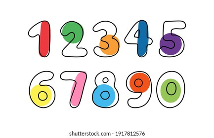 Set of color numbers on white background. Vector illustration