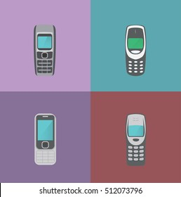 set of color old mobile phones