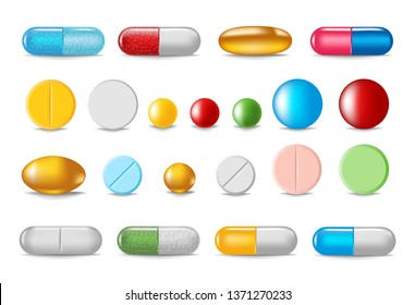 Set of color pills and capsules in realistic style isolated on white background. Healthcare and medical concept vector illustration.