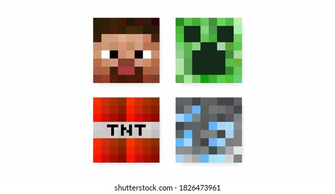 Set of color pixel eight-bit game elements: Steve, creeper, bomb, spider. The concept of pixel online games. Vector illustration
