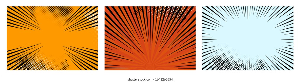 Set of color radial lines comics style background. Manga action, speed abstract. Vector illustration. Isolated on white background