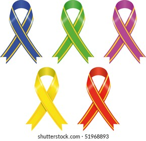 set of color ribbons, vector illustration