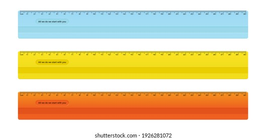Set of color rulers on white background. School and office supplies. Vector