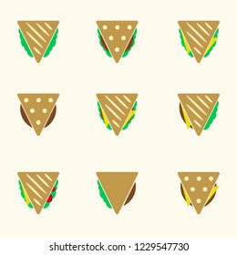 set of color sandwiches food vector icon eps10