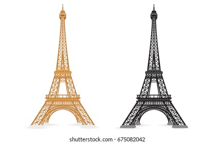 Set of Color and Silhouette Eiffel Tower Paris,France isolated on white background,vector,illustration
