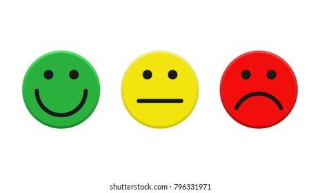 Set of color smileys. Vector illustration