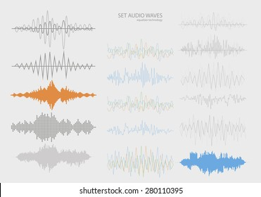 Set color sound waves . Audio equalizer technology, pulse musical. Vector illustration
