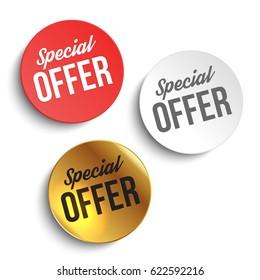 Set of color special offer buttons or badges. Vector illustration.