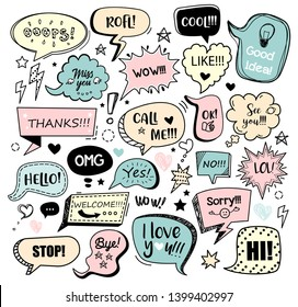 Set of color speech bubbles with different words in doodle style for communication in social media. Isolated vector illustration.
