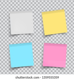 Set of color stickers papers on transparent. Note paper with curled corner. Vector isolated on white background