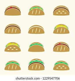 set of color tacos wraps vector icon eps10