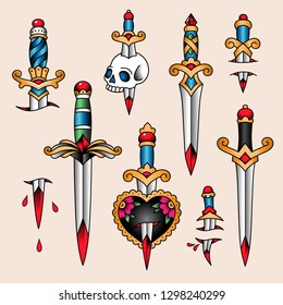 Set of  color tattoos at traditional vintage style. Daggers and knifes