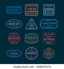 Set color templates of stamps and visa signs in passport, symbols with marks from airport, watermarks, international travel card, document with visas. Concept traveling, vacation. Vector illustration.