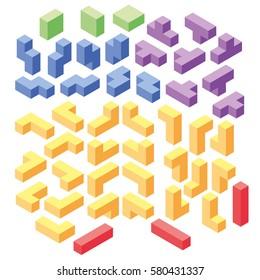 set of color tetris blocks, isometric illustration, 3d puzzle