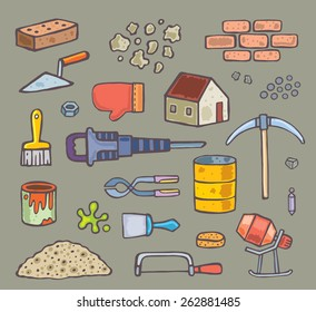 set of color tools and objects for construction. vector isolated