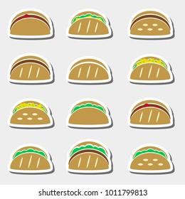 set of color tortilla tacos food stickers set eps10