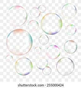 Set of color transparent vector soap bubbles