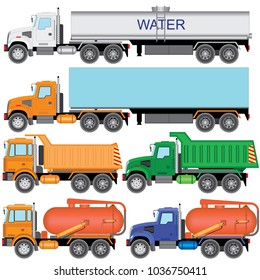Set color truck car carrier, tractor, dump trucks, vacuum trucks on a white background