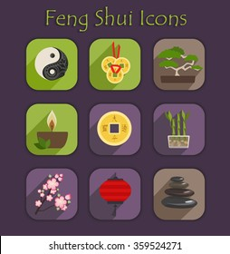 Set of color vector Chinese elements and symbols. Flat Feng Shui icons.