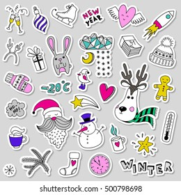 Set of color vector cute winter stickers, pins, patches. Doodle icons items in cartoon hand drawn style. Funny children drawing. Happy new year