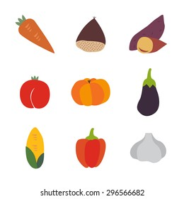 Set of color vector icons corn, pimento, garlic, carrot, chestnut, sweet potato(yam), peach, pumpkin, eggplant in the white background.