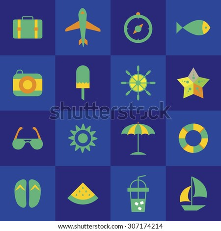 6c9a73eee8b7 Set Color Vector Icons Summer Vacation Stock Vector (Royalty Free ...