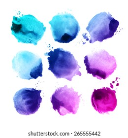 Set of color vector watercolor stain.