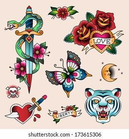 Set of color vintage tattoes for your design