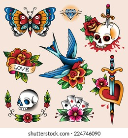 Set of color vintage tattoos for your design and decoration