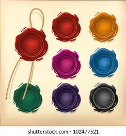 Set of Color Wax seal with rope.