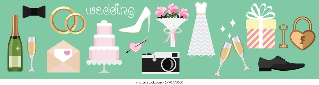 set of color wedding icons in flat cartoon style, lettering wedding. the main symbols and signs of a wedding celebration. stock vector illustration. EPS 10.