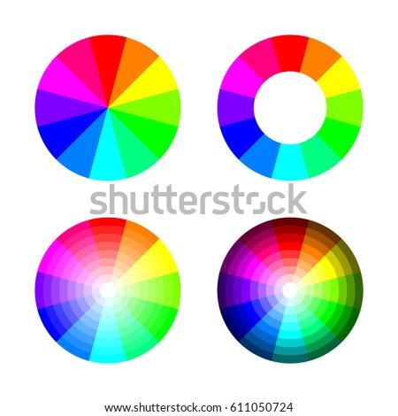 Set Color Wheel 12 Color Rgb Stock Vector Royalty Free 611050724