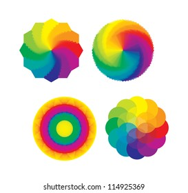 Set of Color Wheels - Circles, Flower of Life in Rainbow Colors