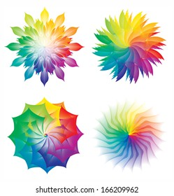 Set of Color Wheels, Circles with Flowers Rainbow Colors