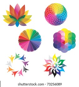 Set of Color Wheels - Circles / Lotus Flower /  Flower of Life in Rainbow Colors