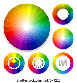 Set of color wheels. Color harmony. Color theory. Multicolored spectral circles.