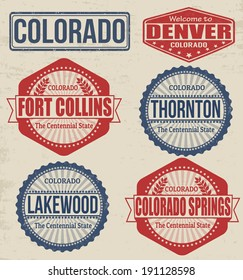 Set Of Colorado Cities Stamps On Vintage Background Vector Illustration